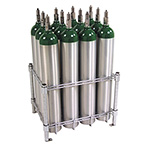 Oxygen Cylinder Rack, Holds 12 E or D Cylinders, Chrome Plated, Bolt Down Feet