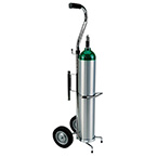 Cylinder Cart, D or E Cylinder, Adjustable Handle, Chrome, for Use with Hill Rom Equipment