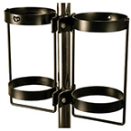 Pole mount, Dual, E or D cylinder, 1-1.25in Diameter, Black Powder-Coat Finish