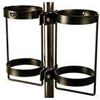 Pole mount, Dual, E or D cylinder, 1-1.25in Diameter, Black Powder-Coat Finish
