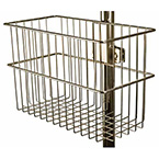 Basket, VMO Stand, 12in Width, 5 3/4in Depth, 8in Height, Chrome, Fits 1 1/4in Poles
