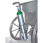 Cylinder Holder, D or E Cylinder, Attaches to all Standard Wheelchairs Without Tools, Chrome