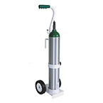 Cylinder Cart, Deluxe, D, E Cylinders, MRI Compatible, Rolling Cart, 1/2in Mounting Hook