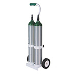 Cylinder Cart, Deluxe, Dual, 2 D or E Cylinders, MRI Compatible, Rolling Cart, 1/2in Mounting Hook