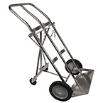 Cylinder Rolling Cart, Dual, 2 H, T, M or M60 Cylinders, Retractable Trailing Axle, 10in Wheels