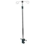 IV Pole, Telescoping, Rail or Table Mount, Two Hooks, Black