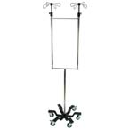 IV Pole, Versa-Stand, Dual, Patient Handle, Basket, Blue