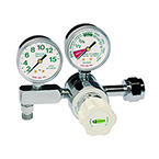 Oxygen Regulator, Diaphragm Style, Adjustable Flow Rate 0-15LPM, CGA540, H Cylinder, Nut and Nipple