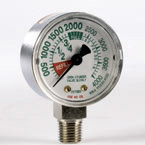 Oxygen Gauge, Bottom Port, 4000 PSI, 2in OD, 1/4in NPT, Chrome, White Face, Freen Numbers