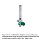 Oxygen Flowmeter, Low Flow, 0-200cc, DISS Male, Right Elbow