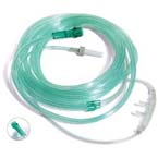 Oxygen Cannula, End Tidal CO2 Sampling, Adult, Connects to Both Male and Female Luer Connectors, 7ft Tubing, Standard Connector, Soft Ears