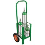 Cylinder Cart, M7, M9, C, D, E Cylinders,  4 Cylinder Capacity, Two Wheels, Green