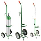 Cylinder Cart, 1 Cylinder Capacity, Gurney Hook, 41in H x 10in D x 12in W, 6 lbs, Two 6in Wheels, Green