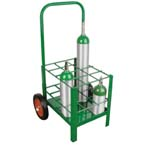 Cylinder Cart, M7, M9, C, D, E Cylinders, 12 Cylinder Capacity, 42in H x 20in D x 22in W, 39 lbs, Two Wheels, Green
