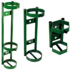 Cylinder Holder, D, E Cylinders, 1 Cylinder Capacity, Wall Mount, 2 Ring Frame, 14in H x 5in D x 5in W, 4lbs, Green