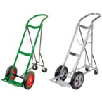 Cylinder Cart, H, T Cylinders, 1 Cylinder Capacity, Retractable Rear Wheel Assembly, Safety Chain, Two Locks, Green