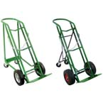 Cylinder Cart, Heavy Duty, Steel, 1 Cylinder Capacity, Foldable Rear Assembly, Solid Rubber 10in Wheels, Two Caster, 48in H x 18in W, 46 lbs, Green