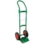 Cylinder Cart, H, T Cylinders, 1 Cylinder Capacity, 46in H x 15in D x 15in W, Two 10in Wheels, 23 lbs, Green