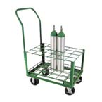 Cylinder Cart, M7, M9, C, D, E Cylinders, 24 Cylinder Capacity, 42in H x 30in D x 20in W, 50 lbs, Four Swivel Casters, Green