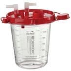 Rigid Suction Canister, Hydrophobic, Red Lid, Pour Spout, Vacuum, Tandem, Patient Ports, Shutoff Filter, 1200 cc