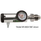 Nitrogen Regulator, Click-Style, CGA 580, 0-25 LPM, Large Cylinder, Silver