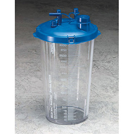Suction Canister, Medi-Vac, Guardian, Shutoff Valve, Locking Blue Lid, Clear, 1200 cc