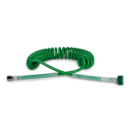 Oxygen Hose, Single Coil, Self-Coiling, DISS fittings, Green, 15 ft