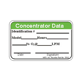 Label, Printed, Concentrator Data, Roll, 2 x 1-in