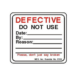 Label, Printed, Defective Do Not Use, Roll, 2.25 x 2.5-in