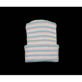 Baby Cap, Large, Striped, Pink/ Blue/ White, Stretch Knit Fabric, Washable