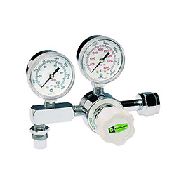 Heliox Regulator, 0-100 PSI Adjustable, CGA1180, Single Stage Pressure Control, DISS Male Outlet