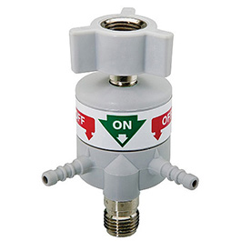 Flow Selector Valve, 2 Male Tubing Barbs, 1 Male DISS Outlet