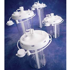 Suction Canisters, Disposable, Snap-On Lid, Filter